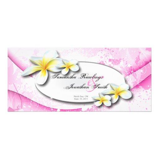 Wedding Program Elegant Pink Tropical Plumeria Rack Cards