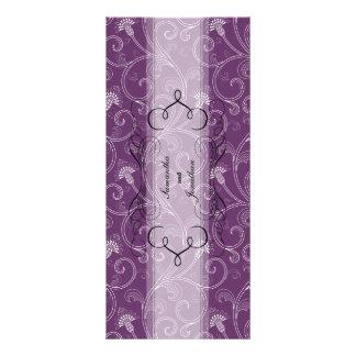 Wedding Program - Elegant Purple Victorian Floral Custom Rack Cards