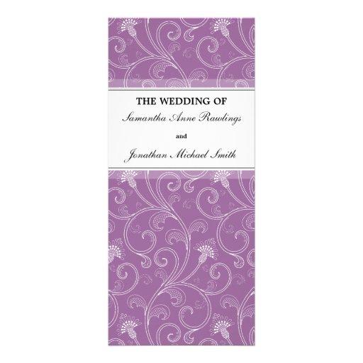 Wedding Program - Elegant Purple Victorian Floral Rack Card Design