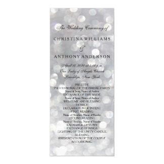 Wedding Program Elegant Silver Bokeh Lights