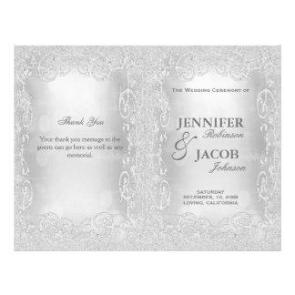 Wedding Program Elegant Silver Faux Glitter