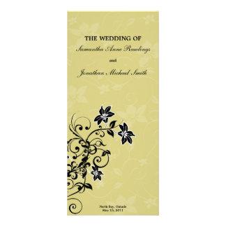 Wedding Program - Elegant Swirled Gold Floral Rack Card