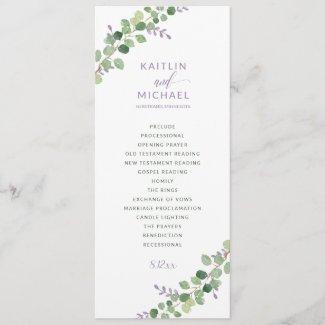 Wedding Program Eucalyptus Greenery Lavender