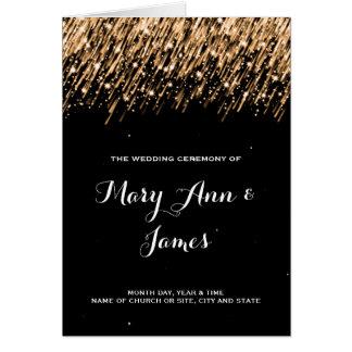 Wedding Program Falling Stars Gold