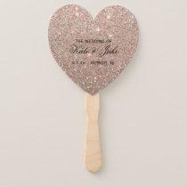 Wedding Program Fan - Rose Gold Glitter Fab