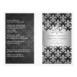 Wedding Program Fleur De Lis Black
