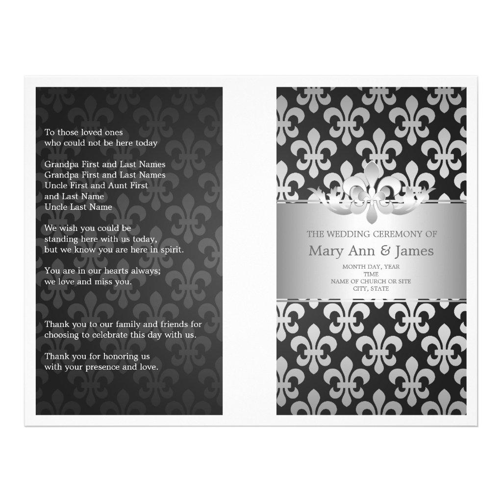 Wedding Program Fleur De Lis Black 25 flyers.