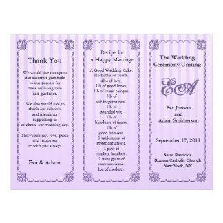 Wedding Program Folder Classic Purple Stripe