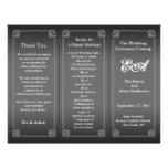 Wedding Program Folder Classic Silver Gray Flyer Design
