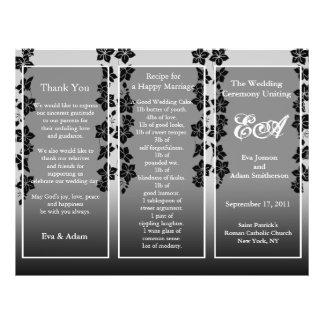 Wedding Program Folder Floral Black