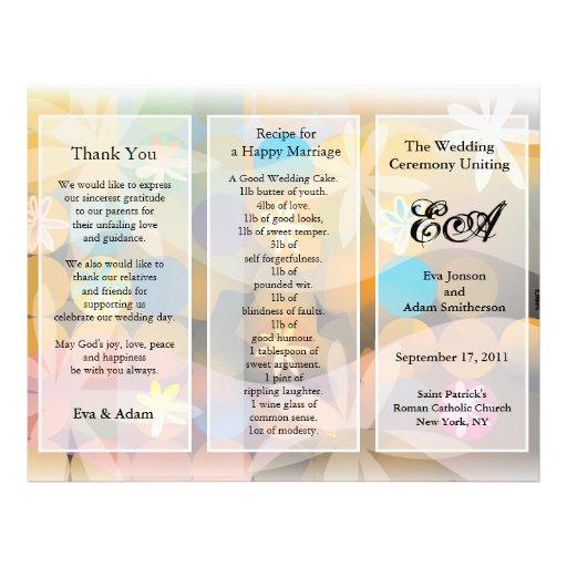 Wedding Program Folder Floral Float Flyer Design