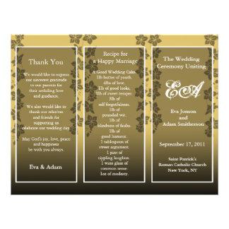 Wedding Program Folder Floral Gold