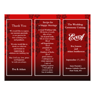 Wedding Program Folder Floral Red