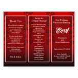 Wedding Program Folder Floral Red Full Color Flyer