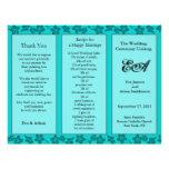 Wedding Program Folder Floral Teal Flyer Design