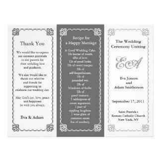 Wedding Program Folder Grey Tint