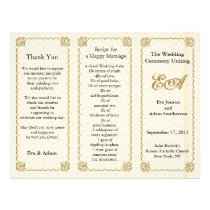 Wedding Program Folder Pattern Gold White