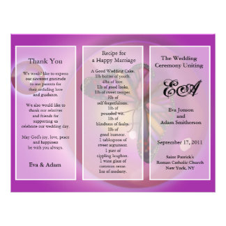 Wedding Program Folder Pink Butterfly