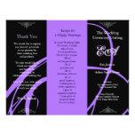 Wedding Program Folder Twirl Purple Black Full Color Flyer