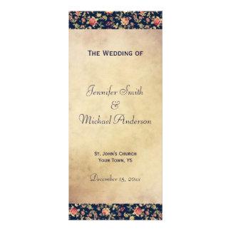 Wedding Program for Elegant Vintage Blue Rose