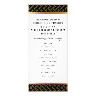 Wedding Program | Formal Golden Geometric on Black