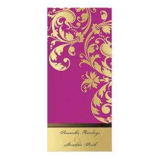 Wedding Program - Fuchsia Pink Gold Shimmer Floral