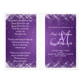 Wedding Program Glamorous Sparks Purple
