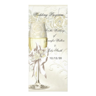 Wedding Program Gold Cream Pearl Floral Roses