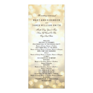 Wedding Program Gold Glitter Lights 4x9.25 Paper Invitation Card