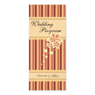 Wedding Program | Golden Brown Floral Line 4x9.25 Paper Invitation Card