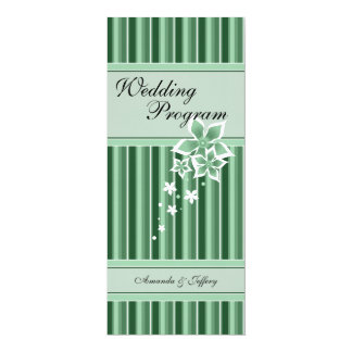 Wedding Program | Green Floral Line 4x9.25 Paper Invitation Card