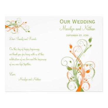Wedding Program | Green Orange White| Floral Flyers