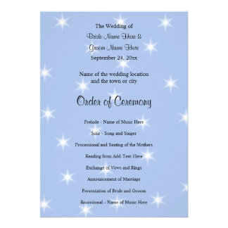Wedding Program in Light Blue with White Stars. Personalized Invites