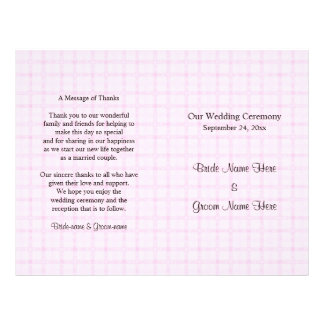 Wedding Program in Pale Pink Check and Black Text.