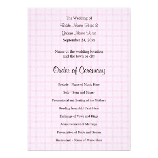 Wedding Program in Pale Pink Check and Black Text. Custom Invites