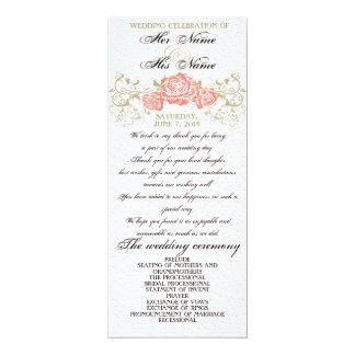 Wedding program 4x9.25 paper invitation card