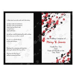 Wedding Program  Japanese Flowers Red
