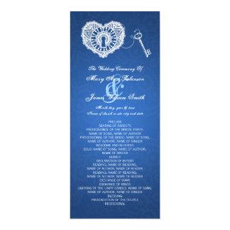 Wedding Program Key To My Heart Blue Card
