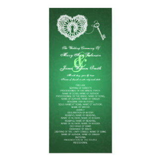 Wedding Program Key To My Heart Green 4x9.25 Paper Invitation Card