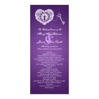 Wedding Program Key To My Heart Purple
