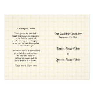 Wedding Program. Light Beige Check and Black Text. Flyer