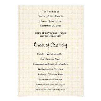 Wedding Program. Light Beige Check and Black Text. Personalized Invitations