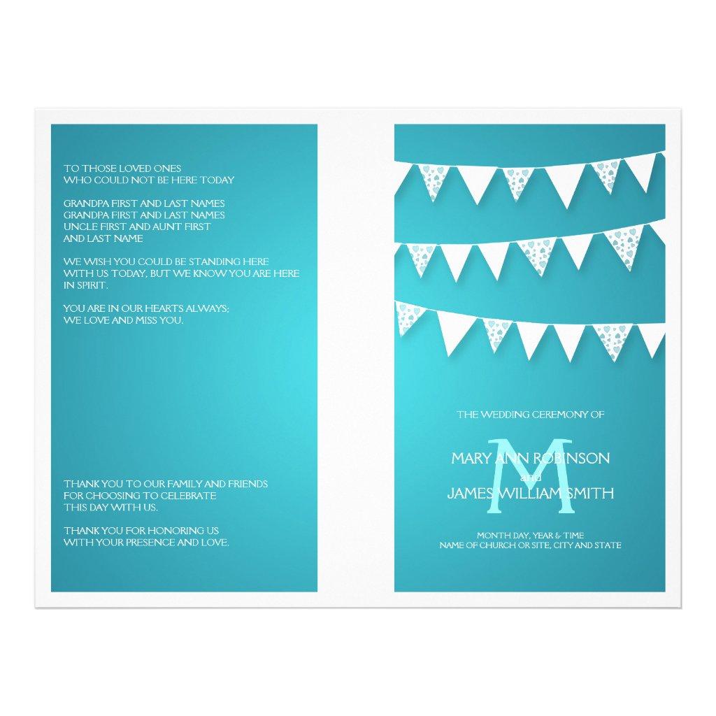 Wedding Program Love Bunting Monogram Turquoise 25 flyers.