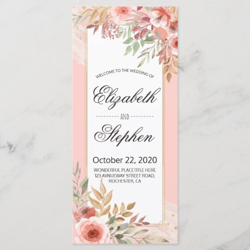 Wedding Program Modern Elegant Chic Pink Flowers