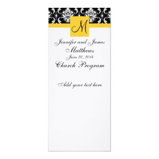 Wedding Program Monogram Black White Damask