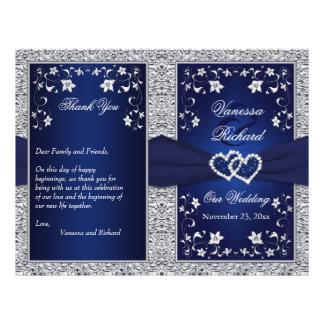 Wedding Program | Navy, Silver Floral, Hearts