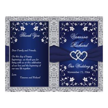 "Wedding Program | Navy, Silver Floral, Hearts 8.5"" X 11"" Flyer"