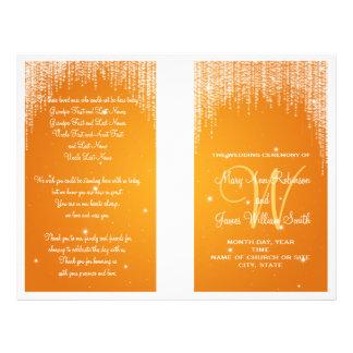 Wedding Program Night Dazzle Orange