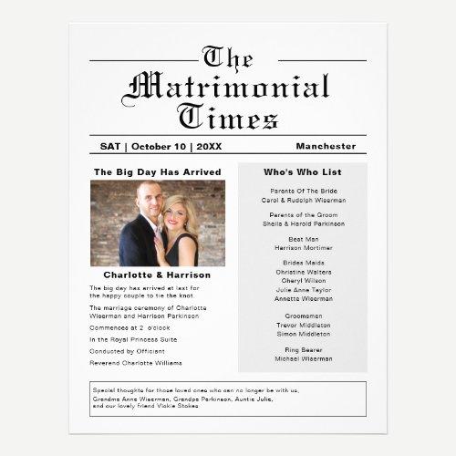 Wedding Program Novelty Newspaper Style Flyer