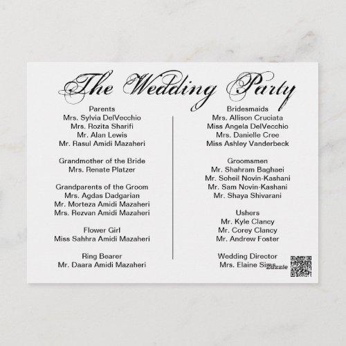 Wedding Program, page 1 of 2. Postcard